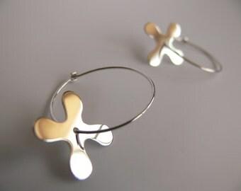 Silver hoop earrings, Hippie earrings, Flower earrings, Floral earrings, Small hoop earrings, Round earrings, Windmill earrings, Gift idea.