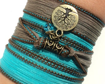 Silk Wrap Bracelet, Yoga, Jewelry, Tree of Life,  Aqua Blue, Brown, Friendship, Bracelet, Unique Christmas, Gift For Her, Under 50, Item S14