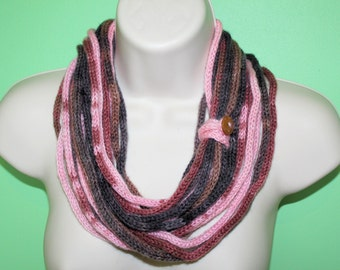 brown pink cowl knit infinity scarf, i cord scarf, loop scarf, circle scarf, brown fall scarf, crochet necklace