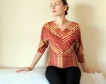 SALE 30% OFF! Batwing striped top, red, brown, yellow and orange. 3 4 sleeve stripy V neck top, one of a kind, autumn fashion for her .