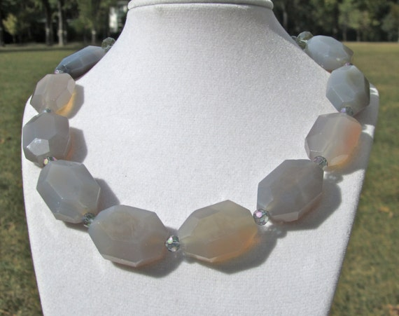Chunky Statement Necklace, Gray Agate Nuggets, Big Bold Faceted Natural Stone    177