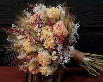 Romantic Rustic Wedding Bouquet, Large Bridal Bouquet, Farmhouse, Dried Flower Bouquet, Blush Peony Bouquet with Wheat & Wild Flowers