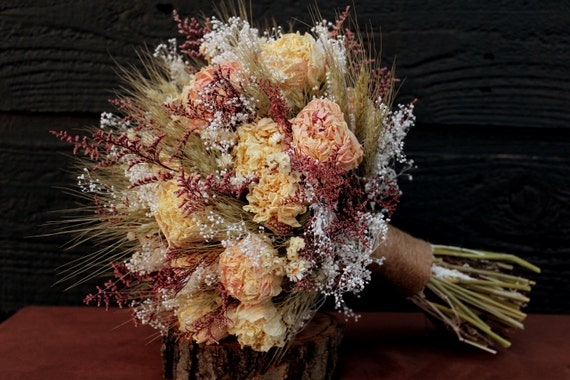 rustic wedding bouquet large bridal bouquet farmhouse dried flower