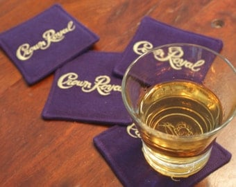 Crown Royal Fabric Coasters Set of 4, Upcycled Coasters, Father's Day, Anniversary Gift, Etsy Dudes, Groomsmen Gifts, Purple, Gifts under 20