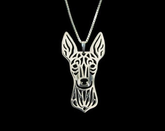 English Toy Terrier - sterling silver pendant and necklace.
