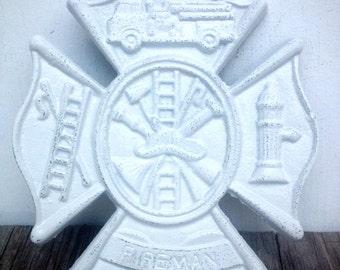 BOLD firefighter symbol Maltese cross sign // traditional bright white // shabby cottage chic rustic boys men's // man cave fireman art