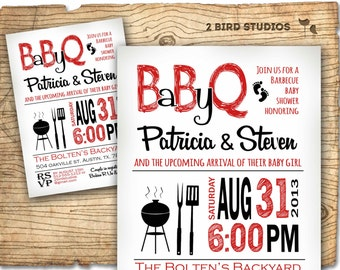 Baby shower invitation - boy baby shower BBQ barbecue invite- DIY barbecue couples shower printable decorations