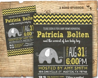 elephant baby shower invitation with gender neutral yellow chalkboard style printable invitation can be used
