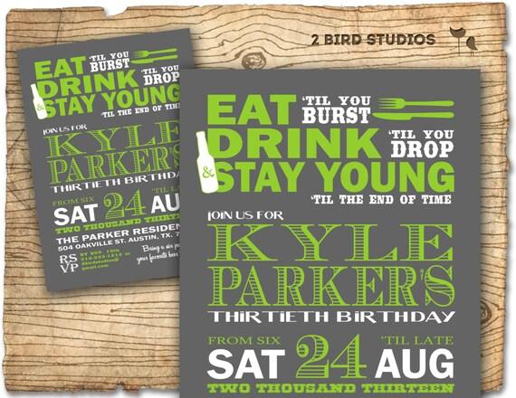 birthday party invitation / invite 30th birthday male diy, Birthday invitations