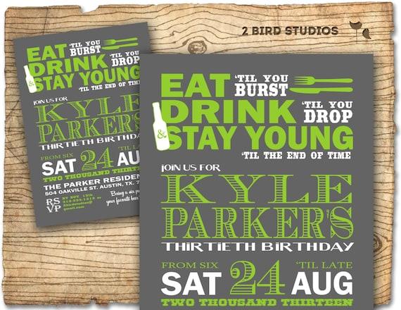 Birthday Party Invitation invite 30th birthday MALE DIY