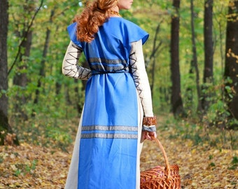 "Medieval Apron Surcoat ""Sunshine Janet""; medieval pinafore; medieval apron; sleeveless surcoat"