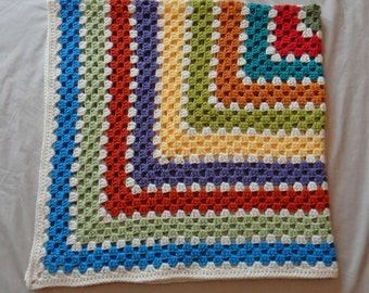Crochet Granny Square Blanket - Multi