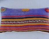DECORATIVE Pillow Lumbar, Colorful Turkish Kilim Pillow Case, Kilim Pillow Cover-Decorative Kilim Throw Pillows-Cushion Cover.Tribal Pillow