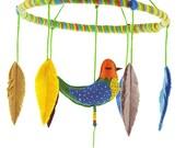 Whisper Bird Baby Mobile No.4, Bird Baby Mobile, Baby Mobile Birds, Bird and Feather, Embroidery Mobile