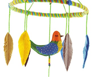 Whisper Bird Baby Mobile No.4, Bird Baby Mobile, Baby Mobile Birds, Bird and Feather, Embroidery Mobile
