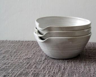 Pouring Bowl - White Stoneware Mixing Bowl