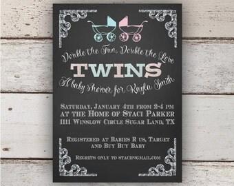 Chalkboard Twin Baby Shower Invitation (Boy/Girl)
