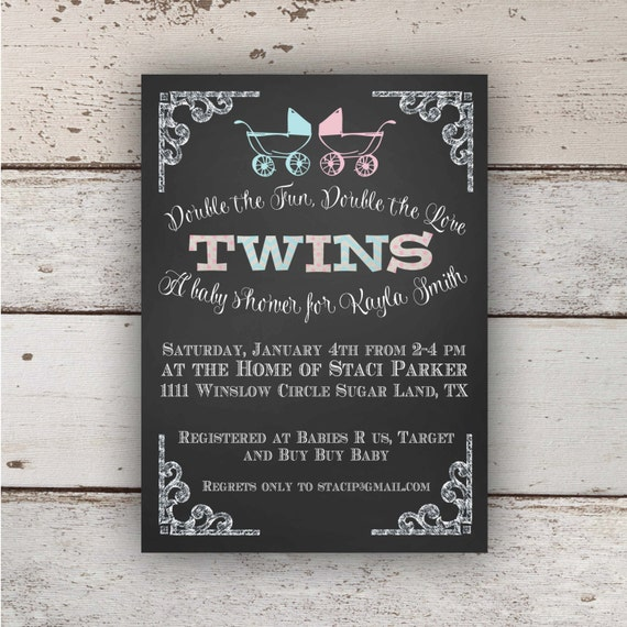 chalkboard twin baby shower invitation boy/girl, Baby shower invitations