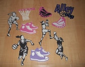 10 Pcs Cricut Cartridge Girls Basketball Shoes Paper Die Cuts Scrapbook Set - SCRAPBOOKING OVERSTOCK SALE