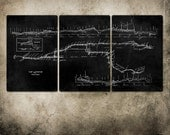 "Vintage New York Subway Map Dark Gray METAL triptych 48x24"" FREE SHIPPING"