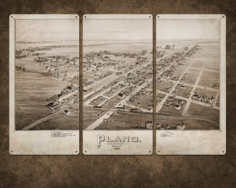 "Vintage Map of Plano Texas METAL triptych 36x24"" FREE SHIPPING"