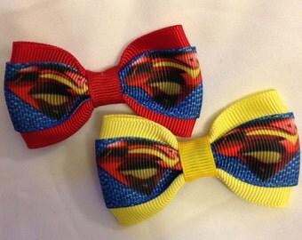 Superman Logo Hair Bow - 2 inches