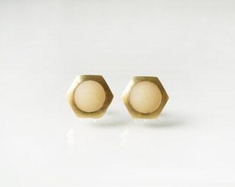 Small Clear white  geometric hexagon circle stud earring