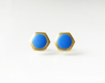 Small Blue  geometric hexagon circle stud earring