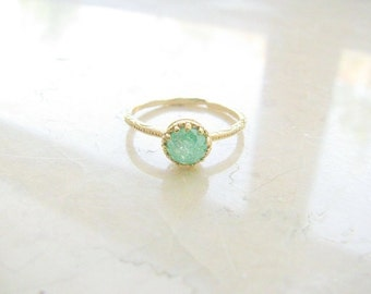 Gold druzy ring - gold ring, gold ring with green crystal, green ring, druzy crystal ring, vintage ring