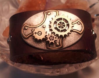 Leather Cuff  Burgundy SteamPunk