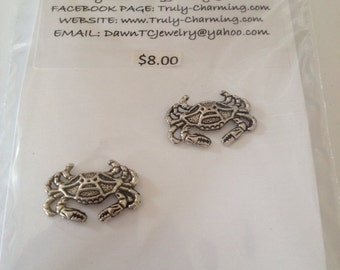 ON SALE Silver Tone Post Crab Earrings