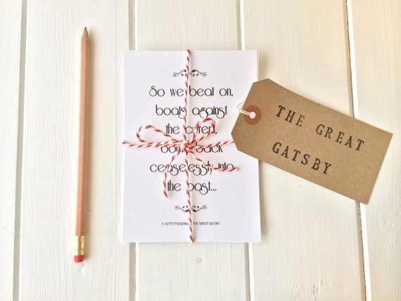 The Great Gatsby Quote Postcard Set - 'So we beat on, boats against the current...'