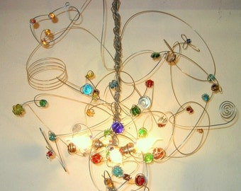 Wire Chandelier, color glass, pendant light, joyful hanging lamp, 5 x E14 LED
