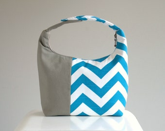 Women Lunch Bag, Insulated Lunch Bag, Chevron Small Purse, Chevron Lunch Bag, Reusable Lunch Tote,Teal Chevron Taupe Color Block
