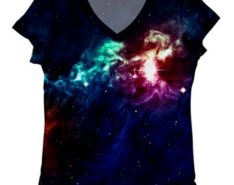 woman galaxy print top, t shirt and tank(211)XXS-PLUS SIZE