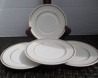 Syracuse China Bread and Butter Plates Restaurant Ware - Arden Cedar Rose Pattern Syrene Shape in White with Gold Bands (Set of 4)