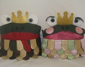 Fairy Tale Prince & Princess Frog Pillows - Set of 2 (Lavender and Green Princess)