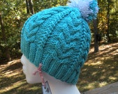 Hand-knitted Turquoise Hat/Beanie With Cable Design with mixed White/Turquoise Pompom - Fall/Winter -Ski Season