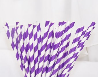 Paper Straws Electric PURPLE Stripes , RETRO BoardWalk Collection, 30 Paper Straws, Carnival Party,  Ice Cream Social, Birthday, New