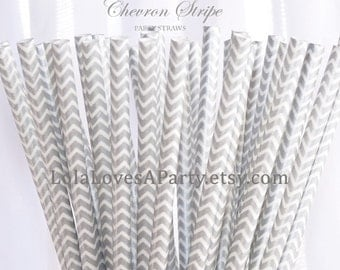 SILVER CHEVRON Stripe Paper Straws-25  Cake PoP Sticks with diy Printable Flags Wedding , Showers, Tea Party , Princess