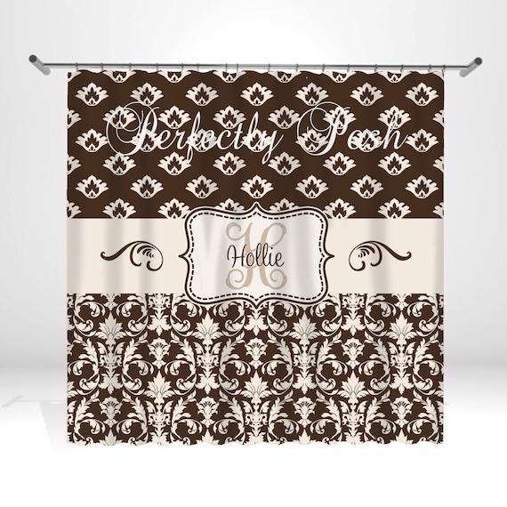 Personalized Damask Shower Curtain by ItsPerfectlyPosh on Etsy