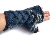 hand knitted mittens batik in different shades of blue cable 100% wool hipster unique