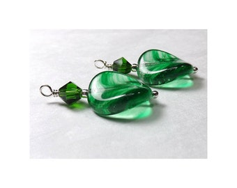 Drop Bead Charms - Green Twist Stripe - Czech Glass & Swarovski Crystals (2)