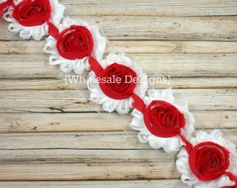 Red & White Shabby Chic Chiffon Flowers - Frayed Vintage Rosettes - Red Center - 1 Yard