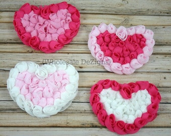 """Pink and White Chiffon Rosette Hearts - 3.5"""" Valentines Heart (4)"""