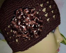 Chemo Brown Knit Hat with Large Satin Brown and White Polk Dot Flower, Brown Chemo Hat with Polka Dot Flower