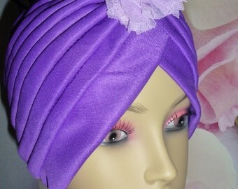 Chemo Purple Turban Hat with Flower, Purple Alopecia Turban with Flower