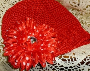 Chemo Red Hat with Red Polka Dot Flower, Ladies Red Chemo Hat with White Chiffon Flowers, Red Chemo Hat with Black and White zera flower