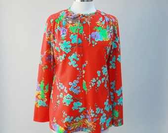 70s vintage polyester shirt, bright orange / red, floral, casual - medium
