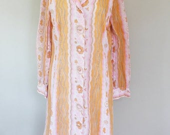 60s / 70s Vintage Floral Striped Dress with Sheer Sleeves - LARGE